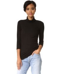 Monrow - Black Stretch Rib Turtleneck Top - Lyst
