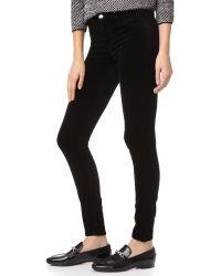 J Brand - Black 815 Mid Rise Velvet Super Skinny Pants - Lyst