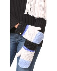 kate spade new york - Blue Chunky Knit Colorblock Mittens - Lyst