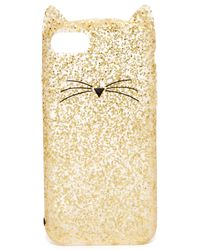 Kate Spade | Metallic Glitter Cat Iphone 7 Case | Lyst