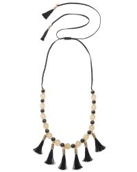 kate spade new york | Black Moroccan Tile Tassel Statement Necklace | Lyst