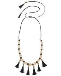 Kate Spade | Black Moroccan Tile Tassel Statement Necklace | Lyst
