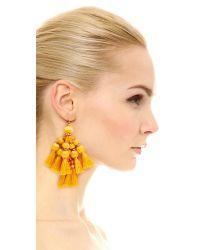 Kate Spade - Yellow Pretty Poms Tassel Statement Earrings - Lyst