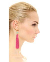 Kenneth Jay Lane - Pink Bead & Tassel Earrings - Lyst