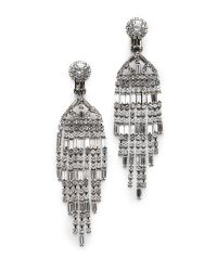 Kenneth Jay Lane | Metallic 9 Row Baguette Waterfall Earrings | Lyst