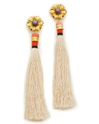Lizzie Fortunato | White Cream Tahitian Tassel Earrings | Lyst