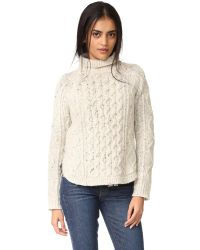 Madewell | Natural Cable Mix Turtleneck Sweater | Lyst