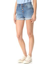 Madewell | Blue High Rise Denim Shorts | Lyst