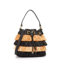 MILLY - Black Raffia Bucket Bag - Lyst