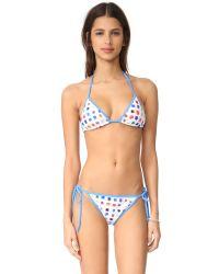 MILLY   Blue Pixel Print Biarritz String Bikini Top   Lyst