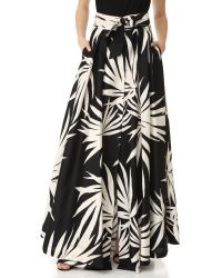 MILLY - Black Palm Print Jackie Maxi Skirt - Lyst