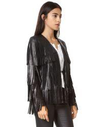 Nour Hammour Natural Lottery Fringe Leather Jacket