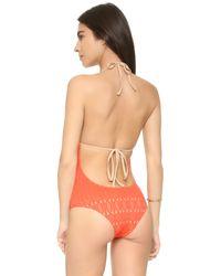 Nightcap - Orange Spiral Lace One Piece Swimsuit - Lyst