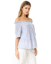 Needle & Thread - Blue Off The Shoulder Top - Lyst