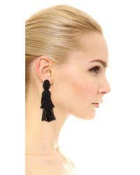 Oscar de la Renta   Black Short Tassel Clip-on Earrings   Lyst
