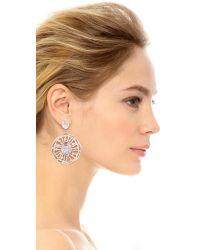 Oscar de la Renta - Multicolor Perforated Crystal Round Earrings - Lyst