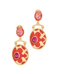 Oscar de la Renta | Multicolor Crystal Clip On Earrings | Lyst