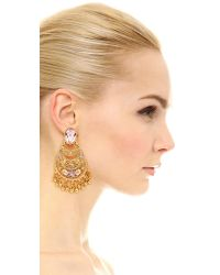 Oscar de la Renta - Metallic Crystal Clip On Earrings - Lyst