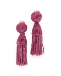 Oscar de la Renta | Multicolor Short Beaded Tassel Clip On Earrings | Lyst