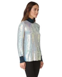 3.1 Phillip Lim - Blue Long Sleeve Iridescent Sequin Top - Lyst