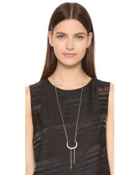 Rebecca Minkoff - Metallic Long Double Tusk Pendant Necklace - Lyst