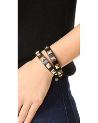 Rebecca Minkoff - Black Double Row Leather Bracelet With Pyramid Studs - Lyst