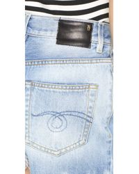 R13 - Blue Shredded Slouch Shorts - Lyst