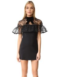 Self-Portrait | Black Line Lace Mini Dress | Lyst
