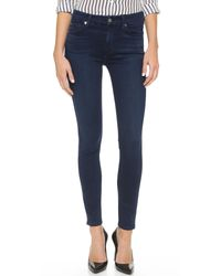 7 For All Mankind | Blue The Mid Rise Slim Illusion Luxe Skinny Jeans | Lyst