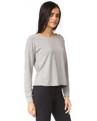 Splendid - Gray Varsity Active Lace Back Sweatshirt - Lyst