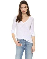 Sundry | White Boxy Long Sleeve V Neck Tee | Lyst