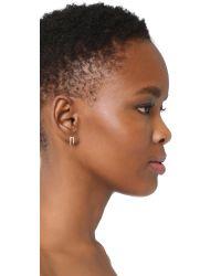 Tai - Metallic Double Hoop Pave Earrings - Lyst