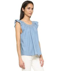 The Great - Blue The Flutter Sleeve Top - Lyst