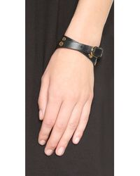 Tory Burch - Black Double Wrap Logo Stud Bracelet - Lyst