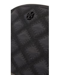 Tory Burch - Black Flame Quilt Rounded Cosmetic Case - Lyst
