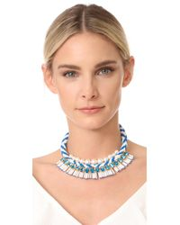 Tory Burch - Blue Beaded Statement Necklace - Lyst