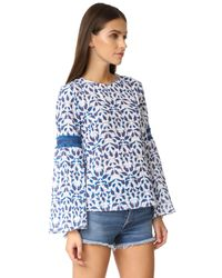 Tanya Taylor | Blue Leaf Ikat Plaid Martine Top | Lyst