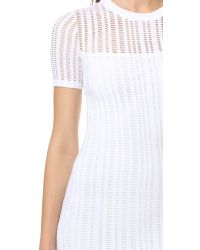 T By Alexander Wang - Multicolor Jersey Jacquard Fitted Dress - Lyst