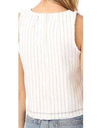 T By Alexander Wang - White Cropped Woven Tank - Lyst