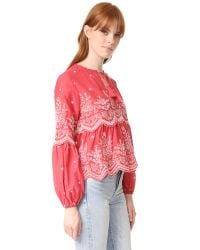 Ulla Johnson - Red Scalloped Embroidery Blouse - Lyst