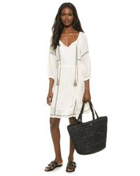Velvet - White Cristal Embroidered Dress - Lyst