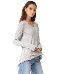 Wilt - Gray Shrunken V-neck Long Sleeve Mock Hem Tee - Lyst