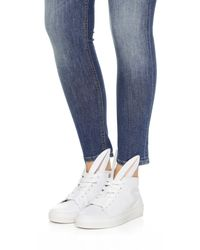 Minna Parikka - White Leather Bunny Ears High Top Sneakers - Lyst