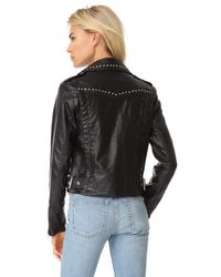 Free People - Black Studded Vegan Moto Jacket - Lyst