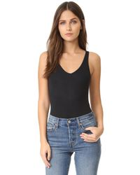 ATM - Black V Neck Tank Bodysuit - Lyst