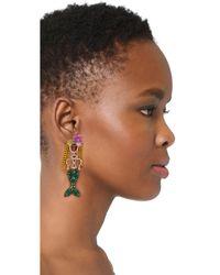 Elizabeth Cole - Green Mermaid Earrings - Lyst