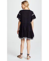 Free People - Black Santiago Embroidered Mini Dress - Lyst