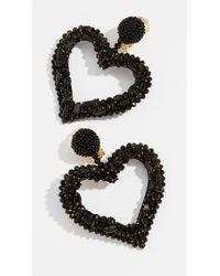 Oscar de la Renta - Black Jeweled Heart Clip On Earrings - Lyst