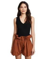 Getting Back to Square One - Black V Neck Sleeveless Bodysuit - Lyst