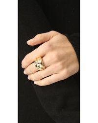 Soave Oro - Metallic Knot Ring - Lyst